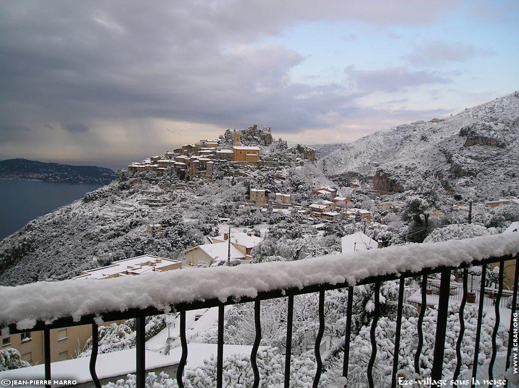 Fond D Ecran De Sud Cote D Azur Provence Eze Neige Lieu Du
